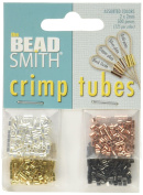 Beadsmith 4-Colour Variety Pack Plated Crimp Tube Beads, 2x2 mm, 500-Pack