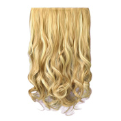 FESHFEN 50cm One Piece 3/4 Full Head Clip in Hair Extensions Long Curly Wave Synthetic Hair Extensions 5 Clips Hairpieces for Women 130g