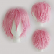 Cosplay Wigs Short Anime Costume Party Full Wigs Dark Pink Fashion Straight Synthetic Hair for Women Men