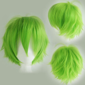 Cosplay Wigs Short Anime Costume Party Full Wigs Green Fashion Straight Synthetic Hair for Women Men