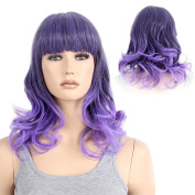 STfantasy Womens Wig Medium Long Length Wavy Ombre Purple Fashion Lolita Party Cosplay Costume Synthetic Hair+Cap