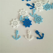 2 Holes Mixed Wooden Buttons Sea Steering Wheels Anchors Pattern Scrapbooking Craft Buttons 50pcs