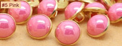 Pink 40pcs/lot Candy Colour Metal Imitation Pearl Shank Sewing Buttons for Shirt Garment