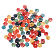 Onpiece 100Pcs Mixed Wood Wooden Buttons 2 Holes 15mm Sewing Scrapbooking DIY Craft