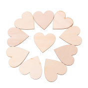 HittecH 10mm Wooden Love Heart Shapes Laser Cut Blank Craft Embellishments Wedding Xmas Decor for Wedding