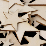 HittecH 50pcs Mixed Size Wooden Stars Shapes Laser Cut Blank Embellishments Craft DIY Scrapbooking Decor