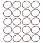 20pcs Metal ID 3.2cm O-rings Buckles Plated Webbing O-Ring For Belts Bags Silver