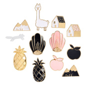 Yalulu 12pcs Mixed Carton Enamel Brooch Pin Badges for Clothes Bags Backpacks Lapel Pin Set