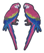 C-Pioneer 2pcs DIY Bird Embroidery Applique Patches Collar Flowers Sew on Clothing Accessories