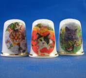 Porcelain China Collectable Thimbles - Set of Three Cats in Flowers