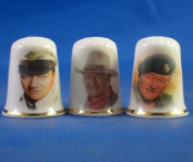 Porcelain China Collectable Thimbles - Set of Three John Wayne Films