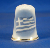 Porcelain China Collectable Thimble -- Flag of Greece with Free Gift Box
