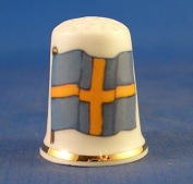 Porcelain China Collectable Thimble -- Flag of Sweden with Free Gift Box