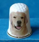 Porcelain China Collectable Thimble -- Golden Retriever Dog