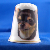 Porcelain China Collectable Thimble -- Chihuahua Dog