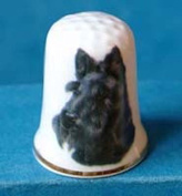 Porcelain China Collectable Thimble --- Scottish Terrier Dog