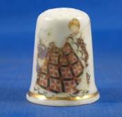Porcelain China Thimble -- Friends Quilting