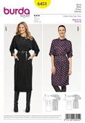 Burda Ladies Sewing Pattern 6451 Batwing Sleeve Dresses
