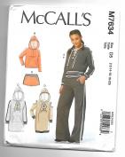 McCall's M7634 12-20 Sewing Pattern Ladies Kangaroo Pocket Hoodie Shorts and Flare Leg Pants