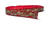 Red Zari trim Indian Fabric Trim, Bridal Wear Embellishment, Indian Ribbon, Jacquard Trim-Width 02 cm-Price For 01 Yard-IDL443