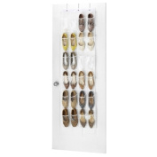 """Clear Over the Door Shoe Organiser - 24 Stitch-Secured Pockets, Hanging Closet Organiser for Shoes, Socks, Ties, Toiletries and Other Accessories 64"""" L x 18"""" W"""