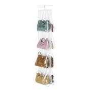 "Hanging Purse Organiser, Breathable Nonwoven Handbag Organiser, 8 Easy Access Clear Vinyl Pockets, White, 48"" L x 12"" W"