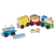 Melissa and Doug Cargo Train Classic Wooden Toy with 4 Linking cars, approx. 13cm long each)