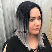 Xiweiya Short Bob Hair Ombre Grey Synthetic Lace Front Wigs Dark Root Short Straight Haircut Heat Resistant Hair Wigs For Women