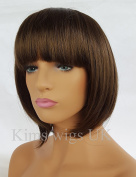 KIMS WIGS WARM MEDIUM BROWN LADIES WOMENS SHORT BOB STYLE WIG B38