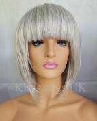KIMS WIGS LIGHT SILVER GREY LADIES WOMENS SHORT BOB STYLE WIG B38