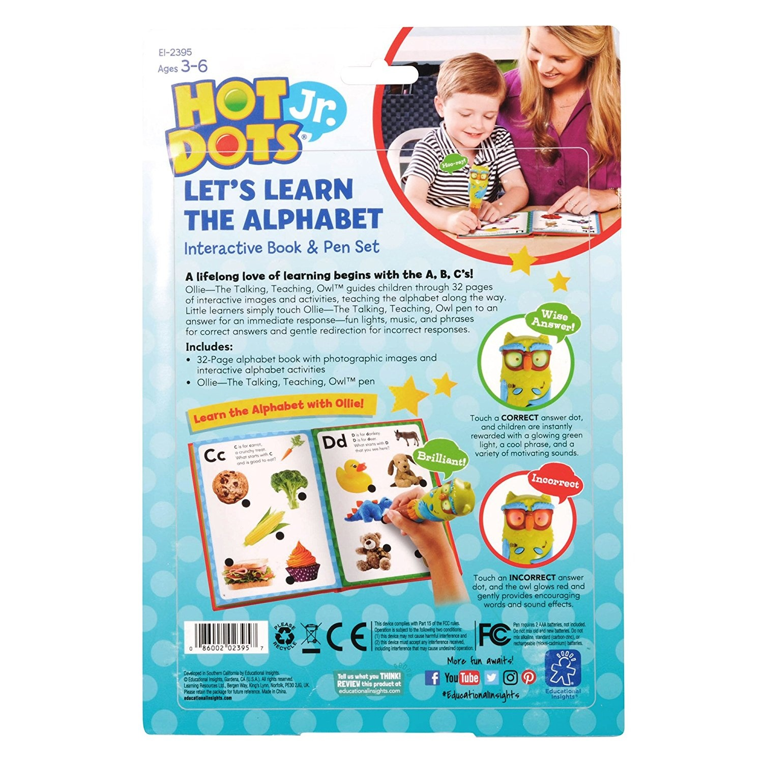 Hot Dots Jr Learn My ABC/'s Interactive Book /& Pen Learning Resources