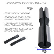 Barbell Pad Squat Bar Thick Foam Cushion - Protector For Neck & Shoulders - Fits Olympic Weight Lifting Bar - Hook and loop Straps For Non Slip Fit