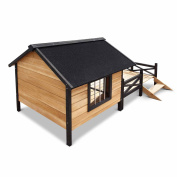*Dog Kennel with Patio - Black .