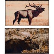 Printed Moose Rug Set, 2-Piece