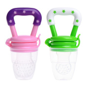Baby Fresh Fruit Pacifier, Set of 2 Newborn Babies Soft Nipple Feeder Bottles BPA Free