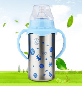 Double - Layer Insulated Baby Bottle Dual - Use Wide - Calibre Stainless Steel Bottle Baby Straw Silicone Nipple,Blue,300ml