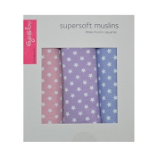 Faye and Lou Super-Soft Muslin Squares, Pastel Pink/Lilac/Violet, Mini Star