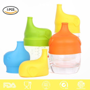 5-Pack Silicone Sippy Cup Lids, MLOVESIE Any Cup Spill-Proof Training Cup or Bottle Lids,Converts any Cup or Glass to a Sippy Cup, BPA Free, Leak Proof for Babies Toddlers and Kids