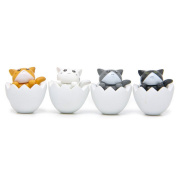Rcool 4PC Creative Stress Reliever Mini Cute Eggshell Cat Collect Toy Fun Toy Cellphone Key Chain Charm Pendant Strap Kid Gift