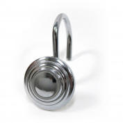 Excell Bullseye Shower-Curtain Hooks, 12-Piece Hook Set, Chrome