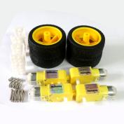 4 x TT Motor UniHobby 3-12V Uniaxial DC Gear Motor with Robot Wheels, Motor Support/Bracket For Arduino Robot Smart Car .