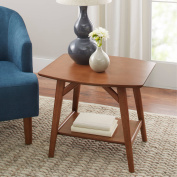 Better Homes and Gardens Reed Mid Century Modern Side Table, Pecan