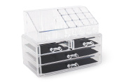 ForHauz Acrylic Jewellery Cosmetics Organiser Two-Piece Set 4-Drawer Makeup Box Nail Polish Holder For Countertop Storage