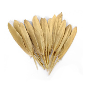 Wionya 100pcs Gold Duck Feather 4-6inch(10-15cm) Craft Plume for Wedding Centrepieces Home Decoration