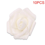 Kangnice 10 Foam Roses with Glitter Powder Flowers Bride Bouquet Home Party Wedding Decor