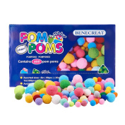 BENECREAT 1 Box(400pcs) Pom Poms Craft Making Assorted Sizes & Colours High-elastic Good Quality Pom Poms Creative Craft DIY Material
