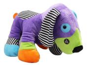 Nutty Mutts Black/White Striped Patch Purple Dog Plush Toy - By Ganz