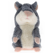 Coolly Lovely Talking Hamster Plush Toy Sound Record Speaking Hamster Talking Toys Mimicry Pet Hamster Talking Plush Animal Toy Electronic Hamster Mouse for Children Kids Grey