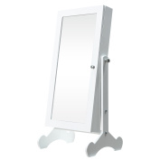 Cloud Mountain Mini Mirrored Jewellery Armoire Cabinet Make Up Free Standing Tilting with LED Light, White