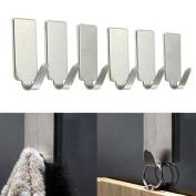 Sinfu 6PCS Self Adhesive Wall Door Stainless Steel Holder Hook Hanger